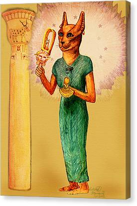 Hathor Canvas Print - Bast Egyptian Cat Goddess by Lilith Marie Haas