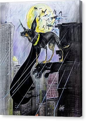 Bat-dog Caricature  Canvas Print by John LaFree