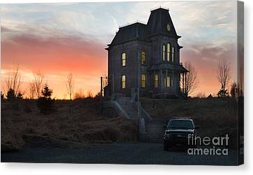 Bates Motel At Night Canvas Print by Jim  Hatch