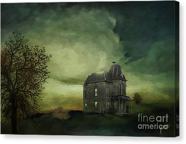 Canvas Print featuring the mixed media Bates Residence by Jim  Hatch