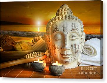 Bath Accessories With Buddha Statue At Sunset Canvas Print by Sandra Cunningham
