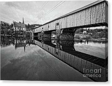 Bath Covered Bridge New Hampshire Black And White Canvas Print