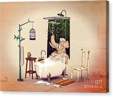 Bath Time Canvas Print by Methune Hively