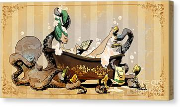 Bath Time With Otto Canvas Print by Brian Kesinger