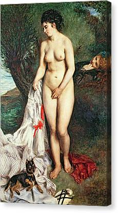 Bather With A Griffon Dog Canvas Print by Pierrre Auguste Renoir