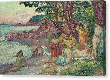 Bathers At Cap Benat, 1909 Canvas Print by Theo van Rysselberghe