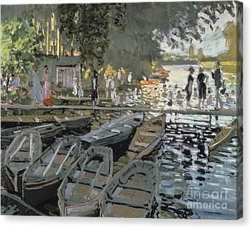 Bathers At La Grenouillere Canvas Print by Claude Monet