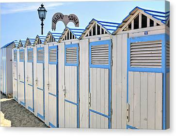 Bathhouses In The Mediterranean Canvas Print by Joana Kruse