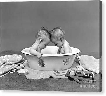 Bathing Babies, 1930s Canvas Print by H. Armstrong Roberts/ClassicStock