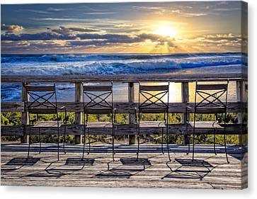 Adirondack Chairs On The Beach Canvas Print - Bathing Beauties by Debra and Dave Vanderlaan