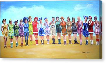Bathing Beauties Canvas Print by Olga Kaczmar