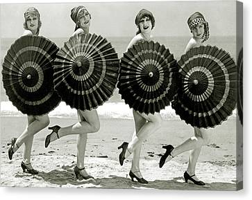 Bathing Beauties With Parasols Canvas Print by American School
