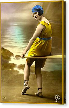 Bathing Beauty In Yellow  Bathing Suit Canvas Print by Denise Beverly
