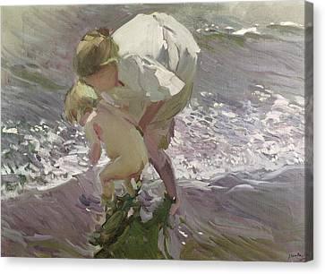 Bathing On The Beach Canvas Print by Joaquin Sorolla y Bastida