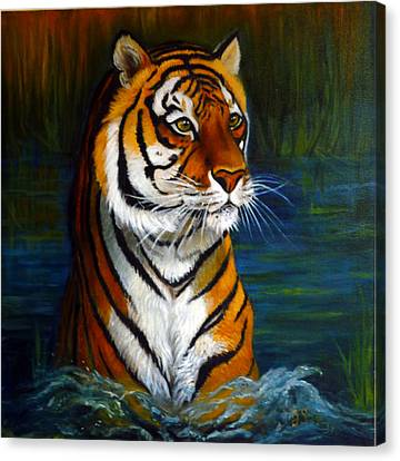 Bathing Tiger Canvas Print by Janet Silkoff