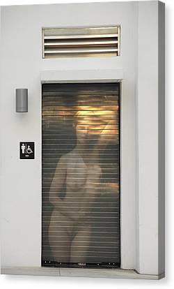 Bathroom Door Nude Canvas Print by Harry Spitz