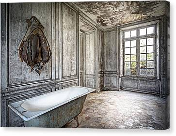 Bathroom In Decay - Abandoned Building Canvas Print