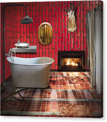 Shower Canvas Print - Bathroom Retro Style by Setsiri Silapasuwanchai