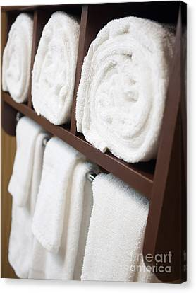 Bathroom Towel Rack With Rolled Towels Canvas Print by Paul Velgos