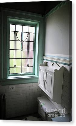 Canvas Print featuring the photograph Vintage Bathroom Window by Bill Thomson