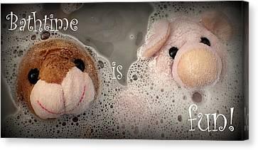 Bathtime Is Fun Canvas Print by Piggy