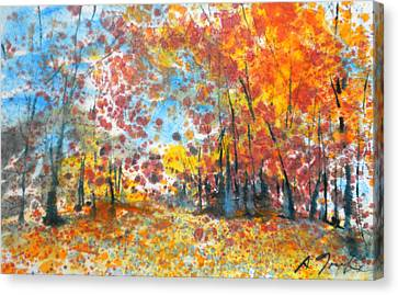 Batik Style/new England Fall-scape L-no.1 Canvas Print