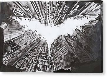 The Dark Knight Rises Canvas Print - Batmaan by Ajay Atroliya