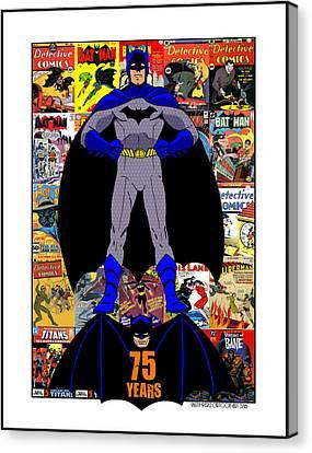 Batman 75 Canvas Print by Mista Perez Cartoon Art