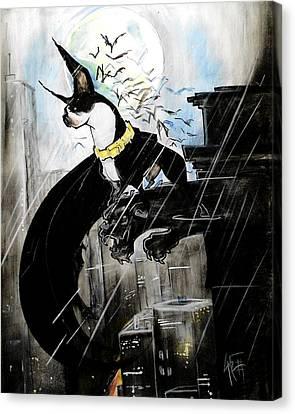 Caricature Canvas Print - Batman Boston Terrier Caricature Art Print by John LaFree