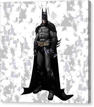 Canvas Print featuring the mixed media Batman Splash Super Hero Series by Movie Poster Prints