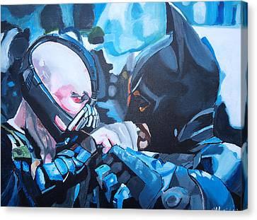 Batman Vs Bane Canvas Print by Martin Putsey