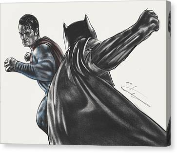 Batman Vs Superman Dawn Of Justice Canvas Print by Scott Strachan