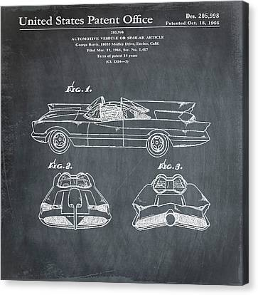 Batmobile Patent 1966 In Chalk Canvas Print by Bill Cannon