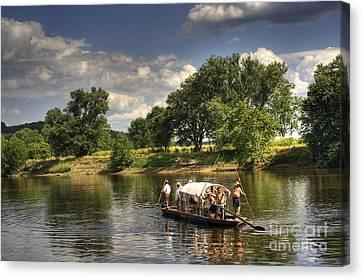 Batteau On The James River Canvas Print by Pete Hellmann