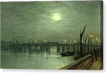 Battersea Bridge By Moonlight Canvas Print by John Atkinson Grimshaw