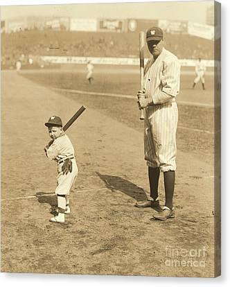 Batting With The Babe Canvas Print by Padre Art