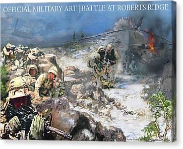 Battle At Roberts Ridge Canvas Print by Todd Krasovetz