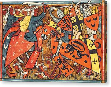 Battle Between Crusaders And Muslims Canvas Print by French School