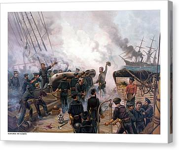 At Sea Canvas Print - Battle Between Kearsarge And Alabama by War Is Hell Store