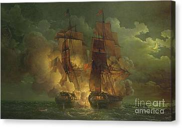 Battle Between The Arethuse And The Amelia Canvas Print by Louis Philippe Crepin