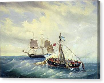 Battle Between The Russian Ship Opyt And A British Frigate Off The Coast Of Nargen Island  Canvas Print by Leonid Demyanovich Blinov