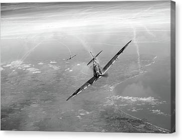 Battle Of Britain Spitfires Over Kent Canvas Print by Gary Eason