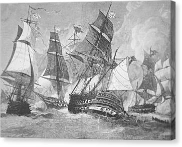 Battle Of Chesapeake Bay Canvas Print by Julian Oliver Davidson