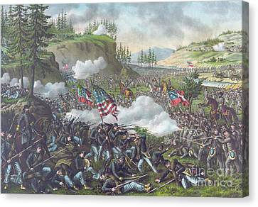 Battle Of Chickamauga Canvas Print by American School