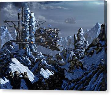 Canvas Print featuring the digital art Battle Of Eagle's Peak by Curtiss Shaffer