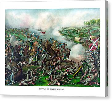 Battle Of Five Forks Canvas Print by War Is Hell Store