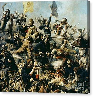 Battle Of Little Bighorn Canvas Print by Edgar Samuel Paxson