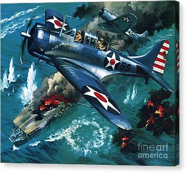 Aircraft Carrier Canvas Print - Battle Of Midway by Wilf Hardy