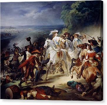 Battle Of Rocroy Canvas Print by Francois Joseph Heim