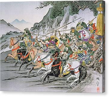 Charging Horses Canvas Print - Battle Of Shizugatake Pass by Japanese School